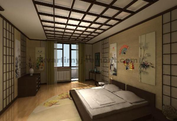 Фото: Спальня с выходом на балкон в японском стиле