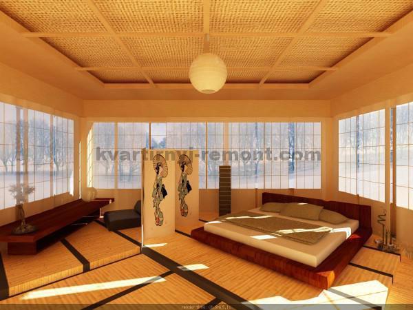 Фото: Панорамные окна в японской спальне
