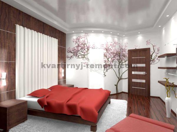 Фото: Спальня в японском стиле с замаскированным угловым шкафом