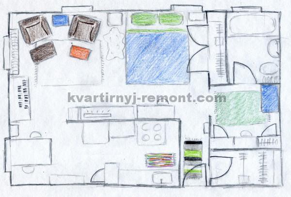 Фото плана квартиры нарисованного от руки
