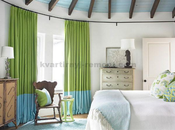 Контрасные зеленые шторы