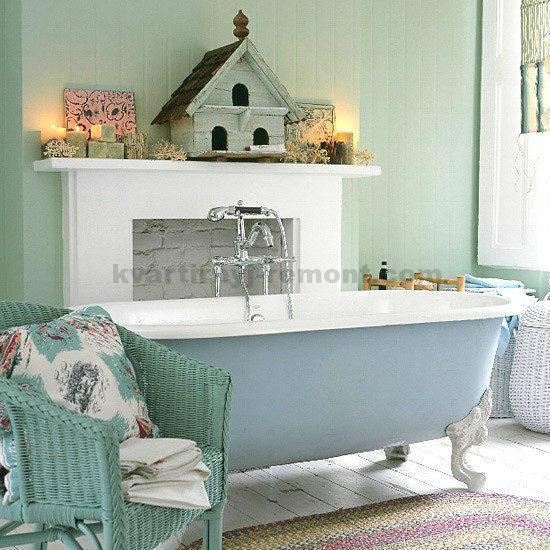 Синий цвет в ванной комнате