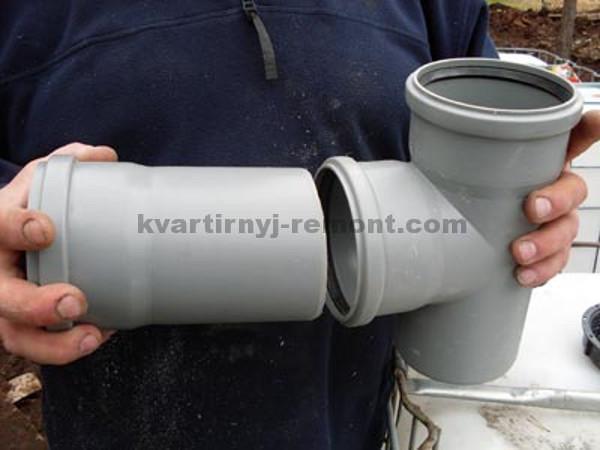 Фото примерки канализационной трубы
