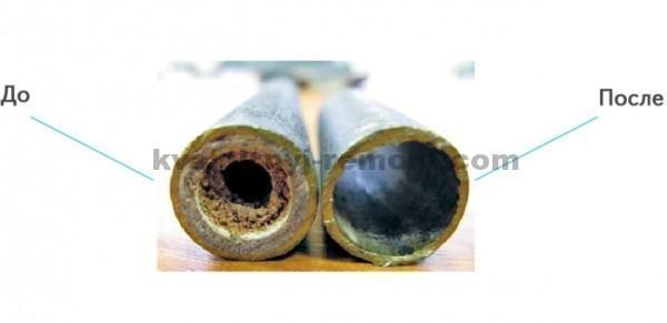 Труба до и после прочистки канализации гидродинамическим способом