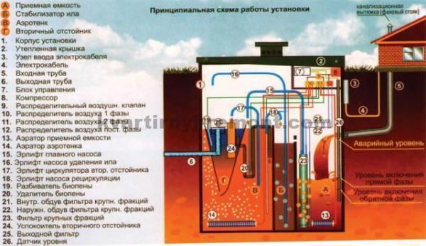 Принципиальная схема работы автономной канализации Топас