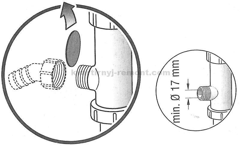 Фото 13. Схематичное изображение подключения сифона, имеющего отвод. Здесь же приводятся основные размеры.
