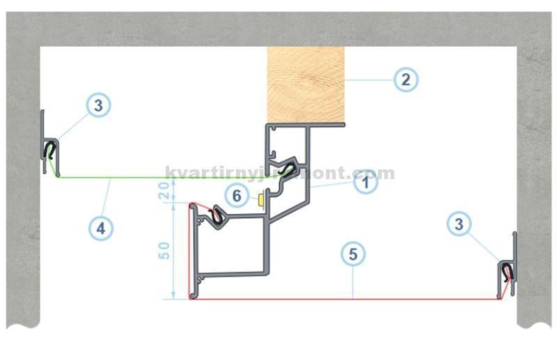 схема парящего натяжного потолка