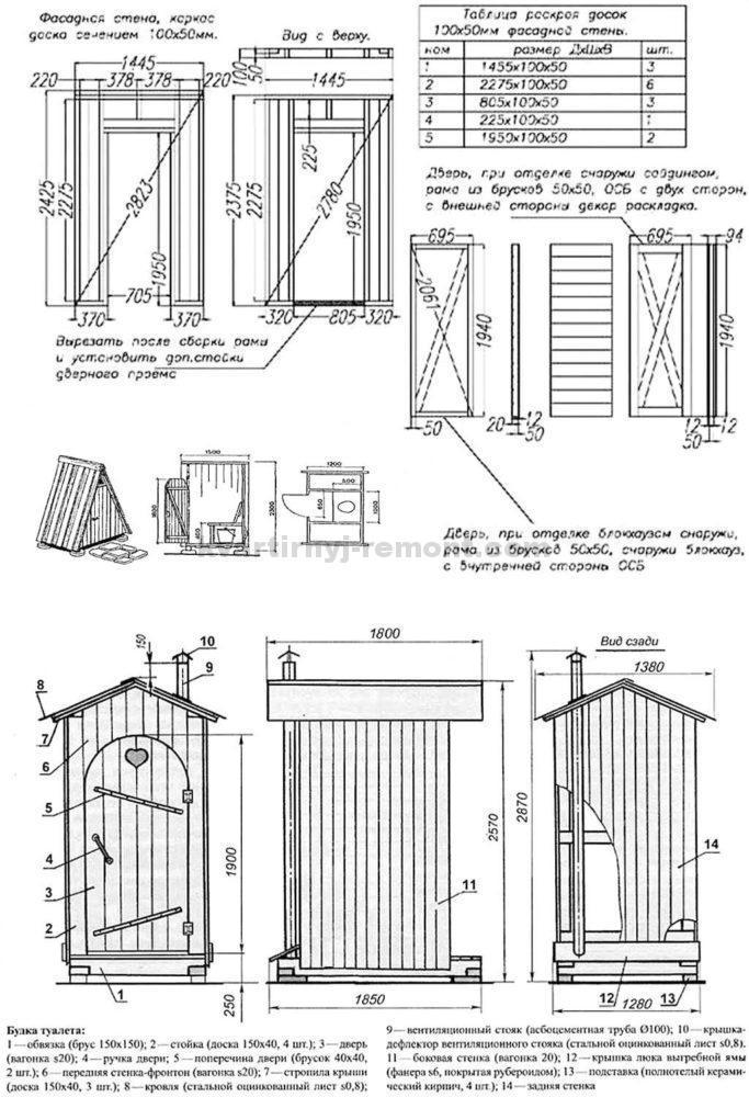 Чертежи нескольких вариантов кабинок для туалета: фото