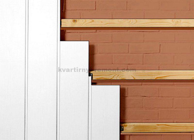 фото деревянные бруски в качестве обрешетки