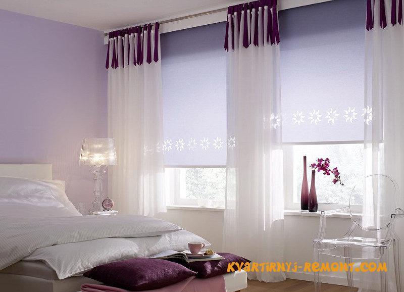 Рулонные шторы для спальни дизайн