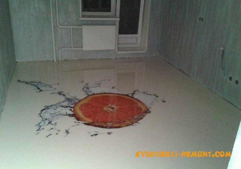 Фото апельсина на наливном полу