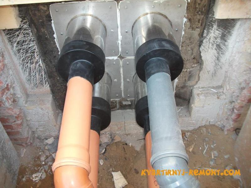 Прокладка канализации через фундамент