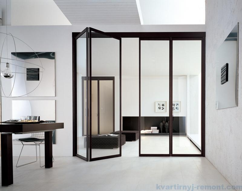 Стеклянная дверь-гармошка