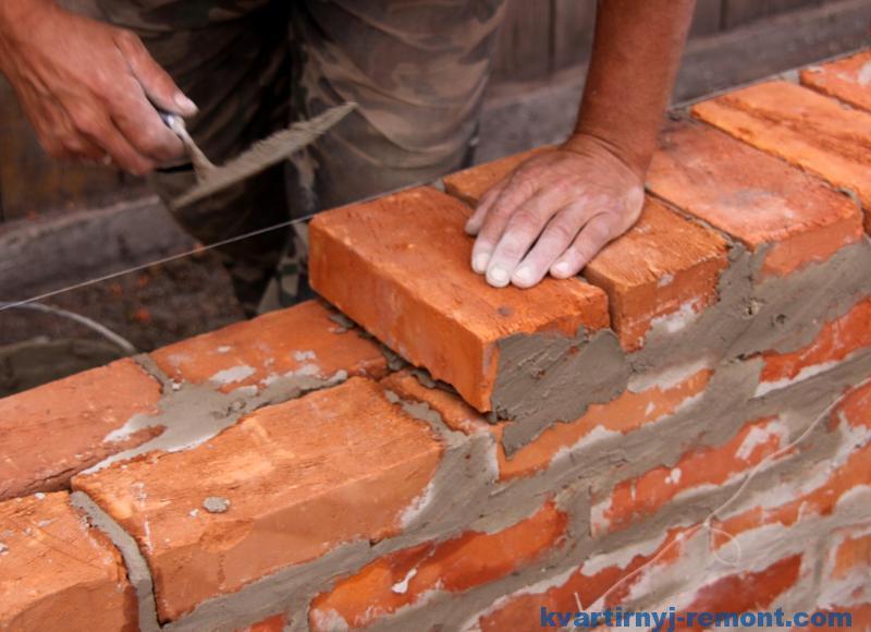 Делаем стенку из кирпича