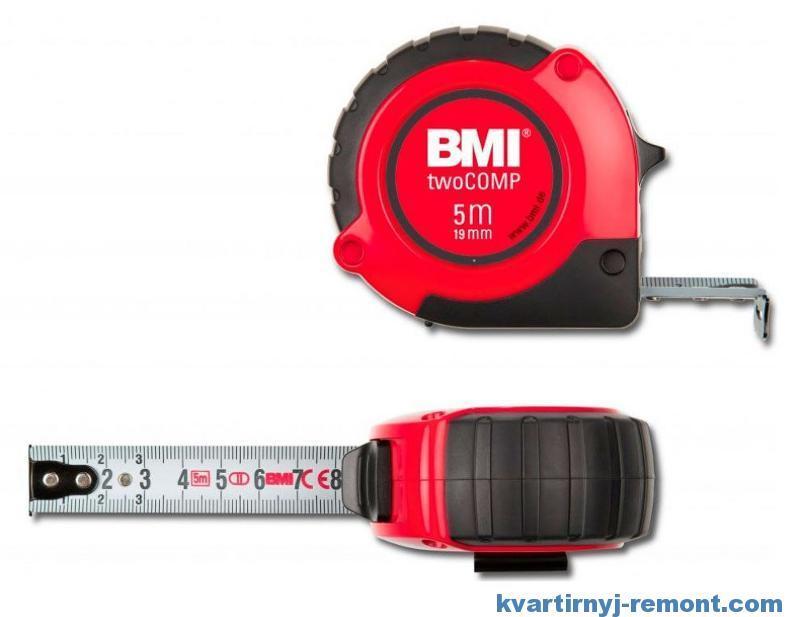 Шкала измерений рулетки BMI twoCOMP 5m