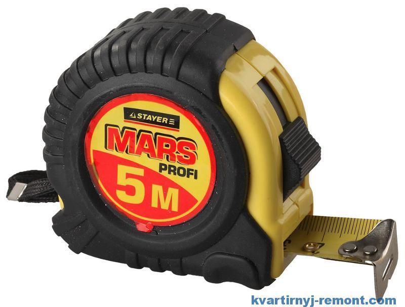 Рулетка Stayer MARS обрезиненный корпус 5 м х 25 мм