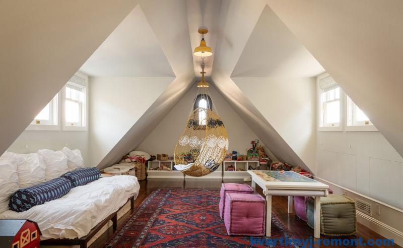 Спальня - детская на мансарде