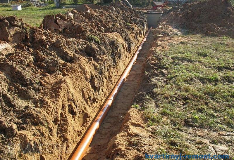 Уложенная в траншею труба канализации