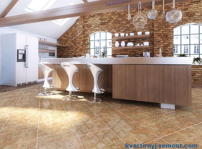 Пол на кухне из керамогранита