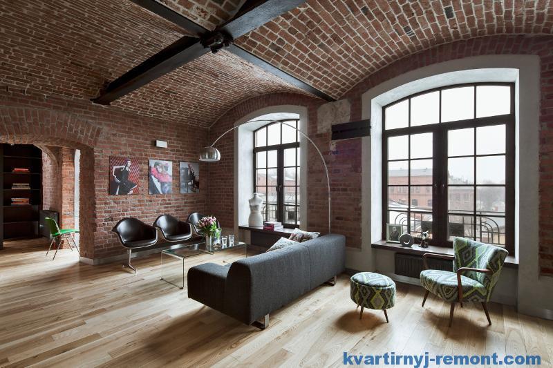 Большие окна интерьера в стиле лофт
