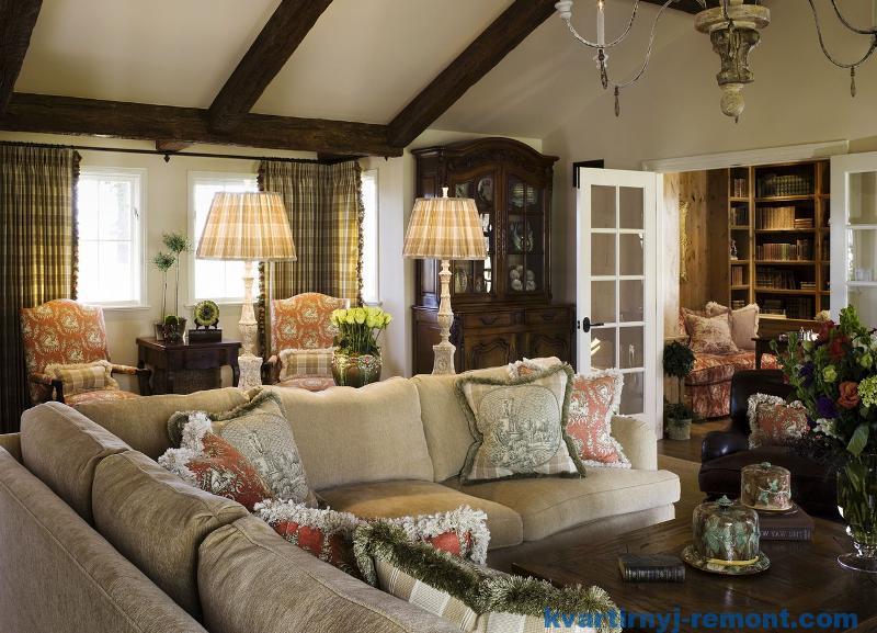 Контрасная гостинная в стиле прованс