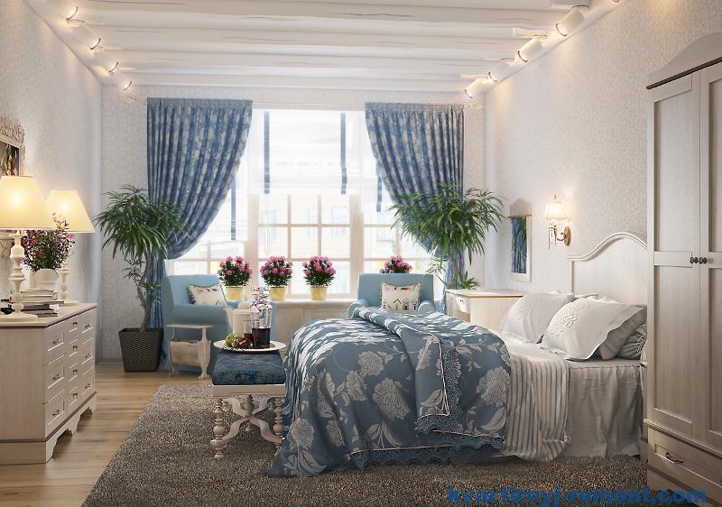 Голубые тона в спальне стиля прованс