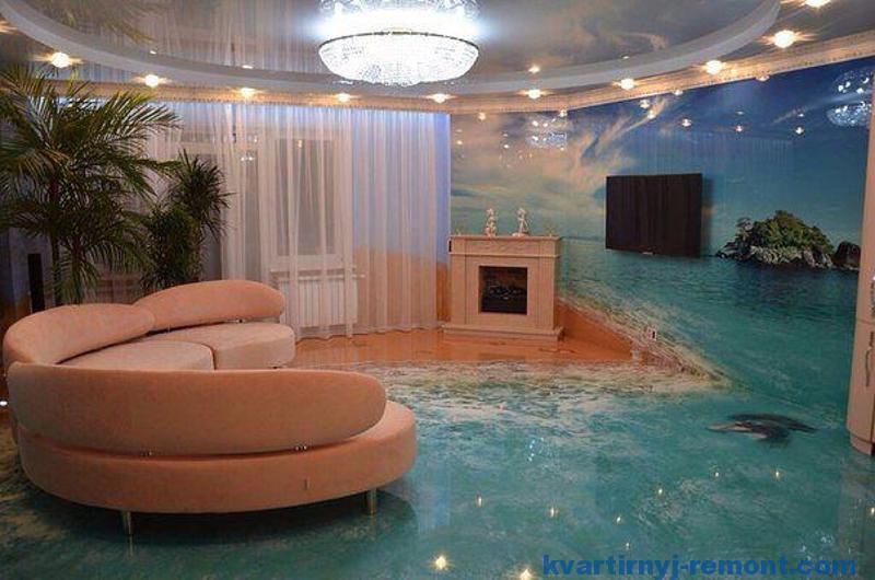 Наливной пол и стены 3D