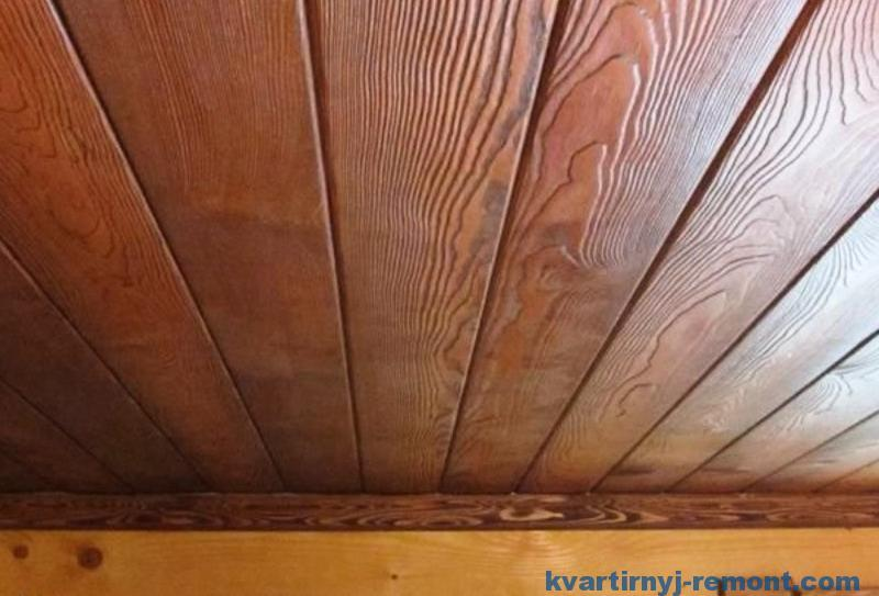 Имитация бруса на потолке