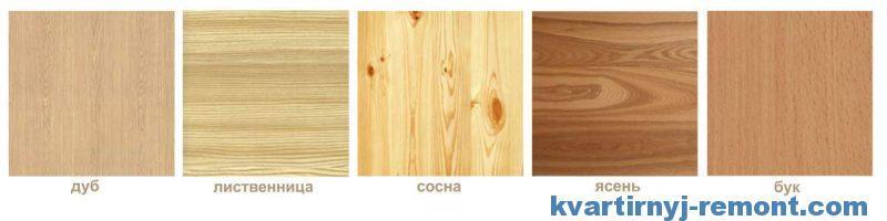 Структура и цвет некоторых пород дерева