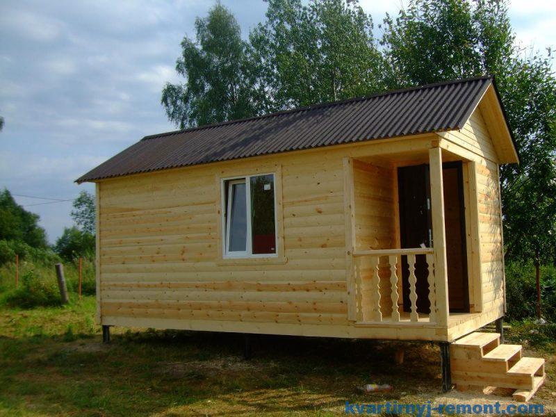 Дом из бруса 6*3м на свайном фундаменте