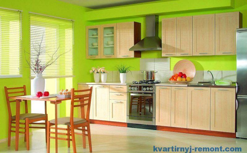 Яркая зеленая краска на кухне