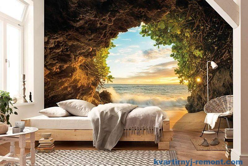 Фотообои - океан из пещеры