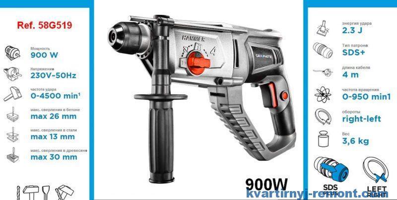 Перфоратор SDS+ 900Вт, GRAPHITE 58G519