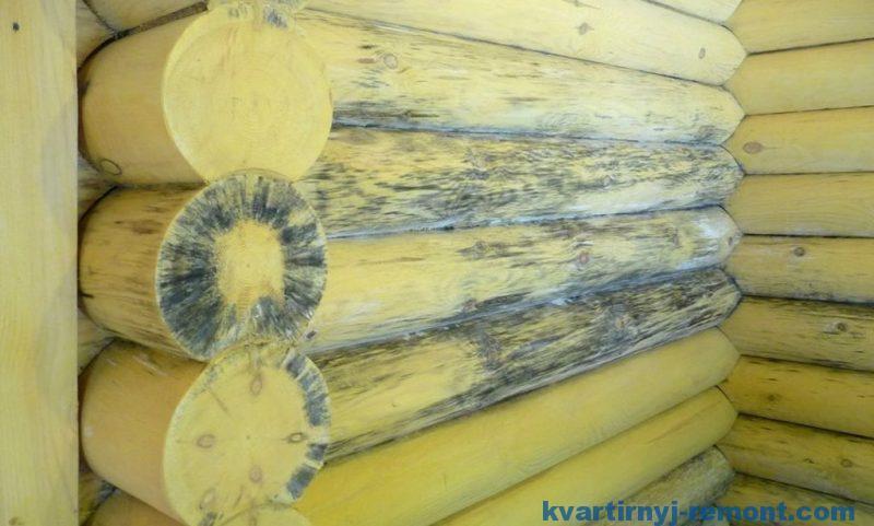 Поврежденная древесина сруба