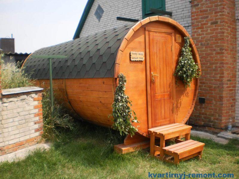 Бочка - баня с комнатой отдыха и душевой