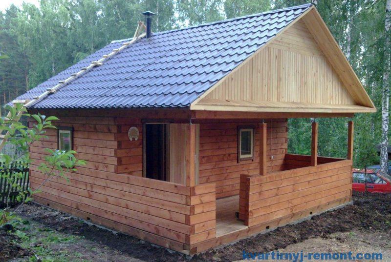 Двухскатная крыша для бани