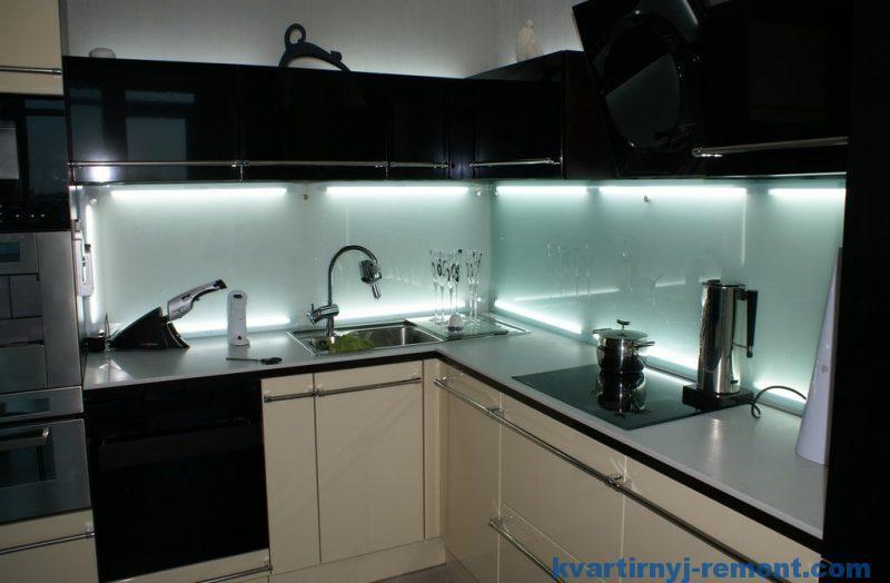 Подсветка фартука на кухне светодиодной лентой