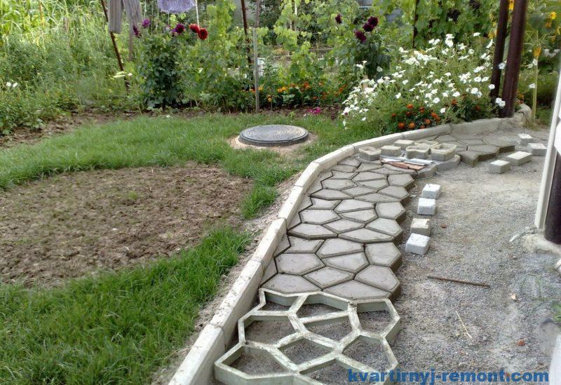 Процесс создания бетонной дорожки