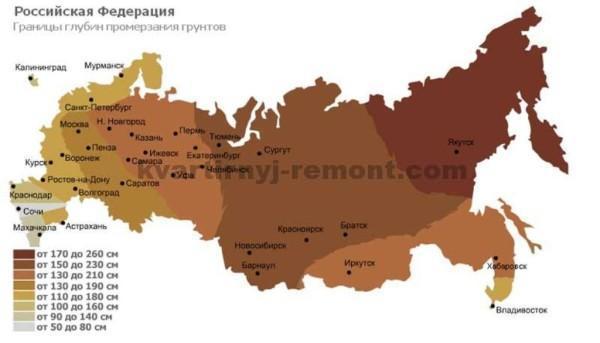 На фото – Средняя глубина промерзания грунта по регионам России.