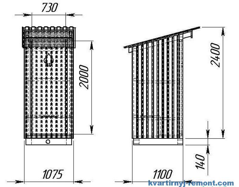Размеры домика Дачного туалета