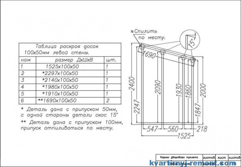 Схема и размеры раскроя досок на туалет