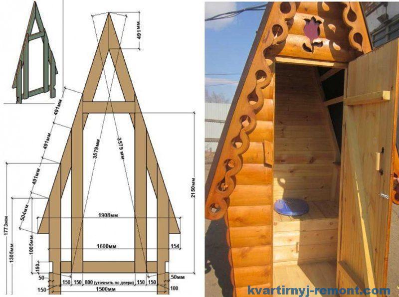 Схема туалета избушки с прямыми стенами