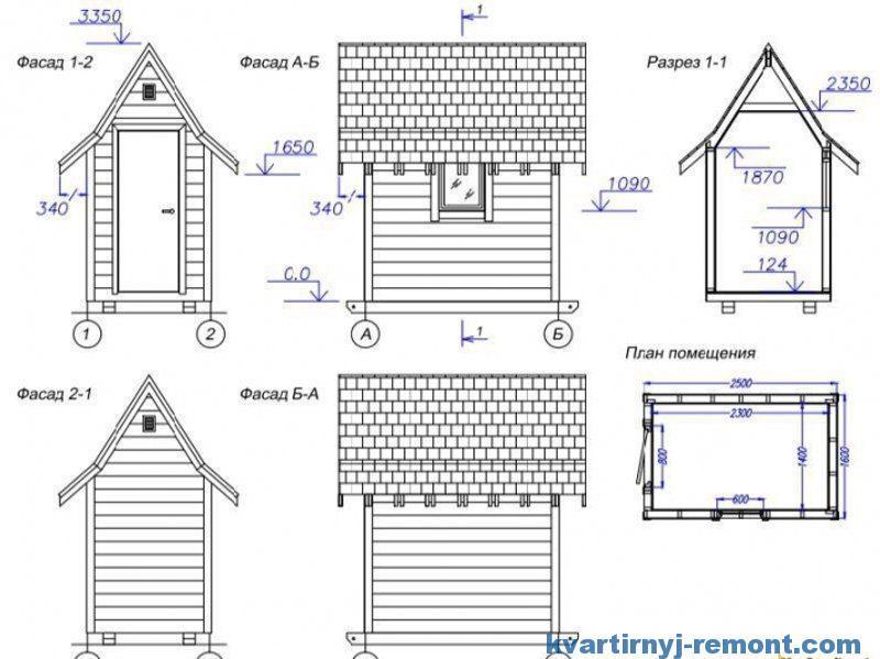 Туалет домик - чертеж и схема
