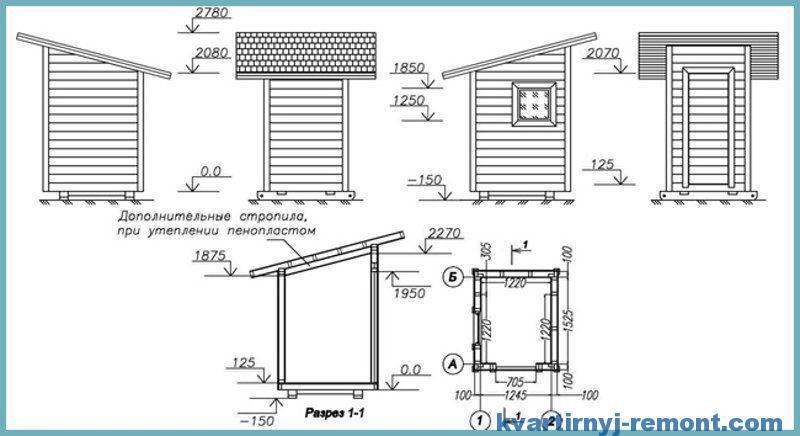 Чертеж и размеры туалета на даче