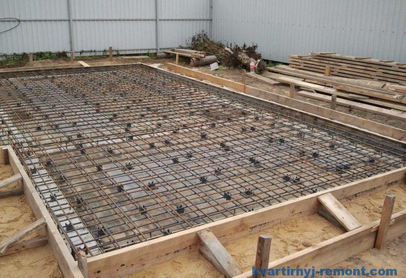 Плитный фундамент гаража