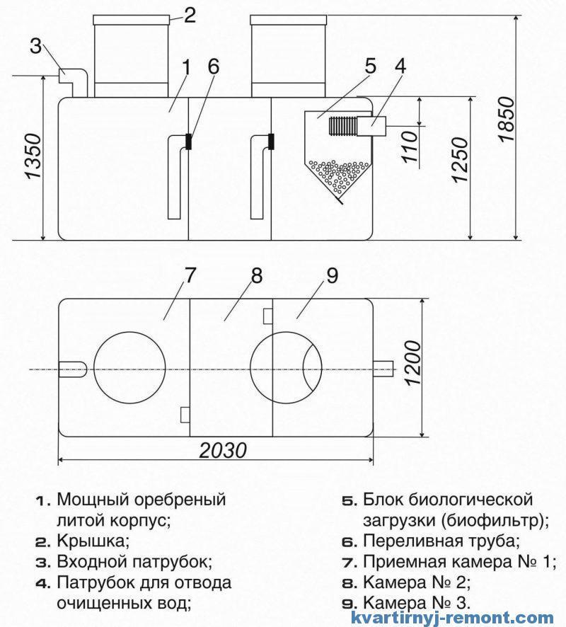 Схема септика «Танк»