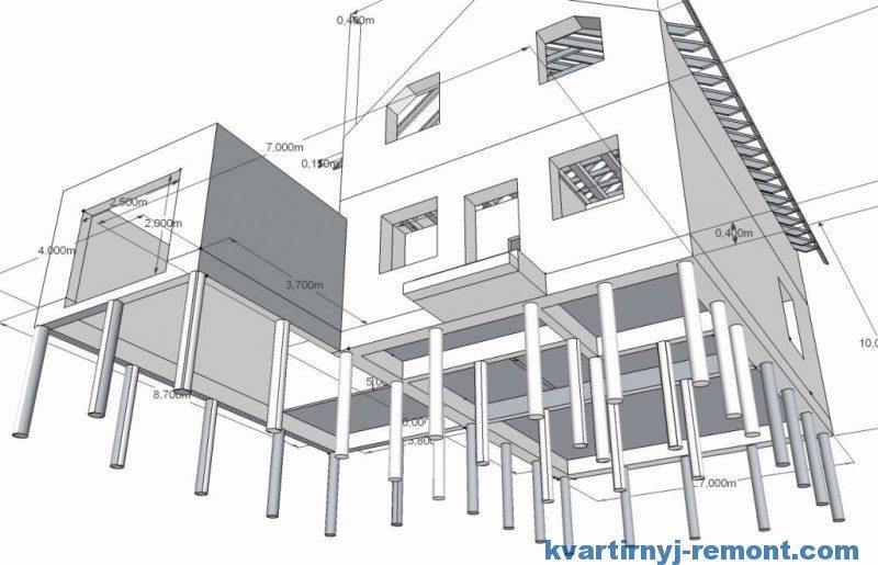 Схема дома на свайном фундаменте