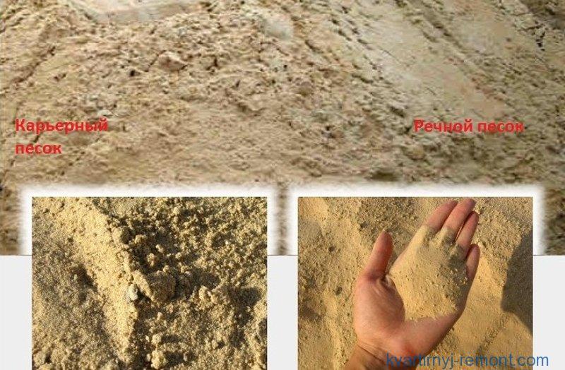 Внешнее отличие карьерного песка от речного