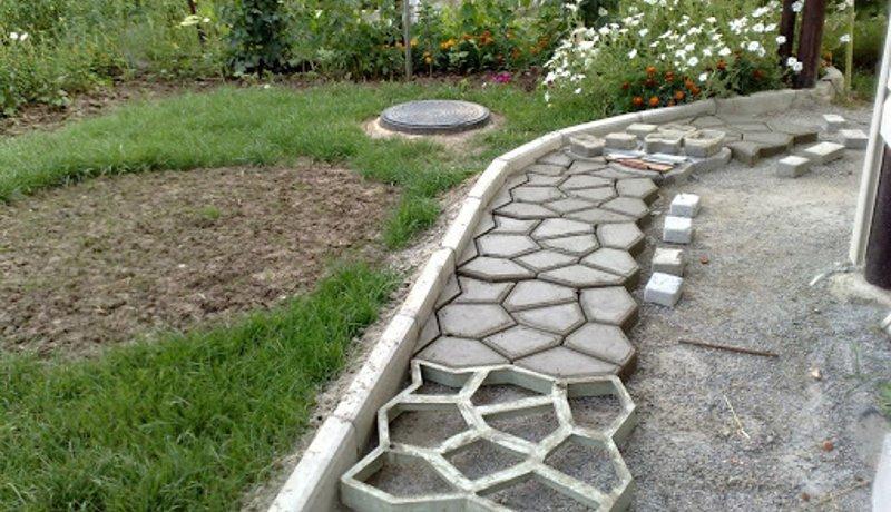 Печатный бетон для дорожки