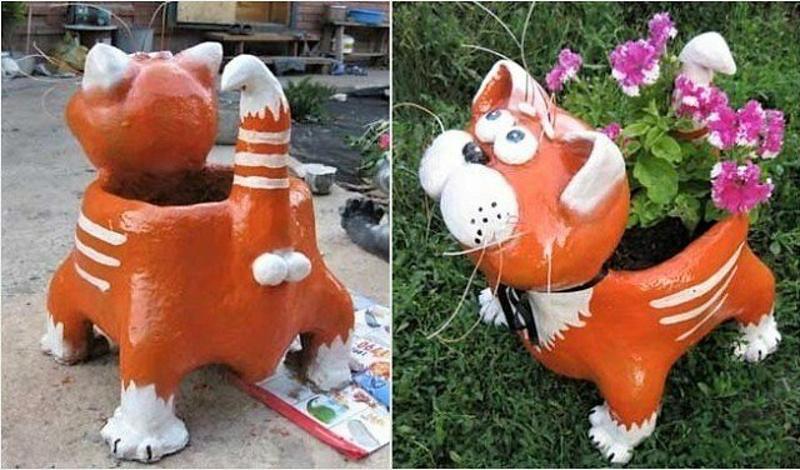 Забавный кот для сада из цемента